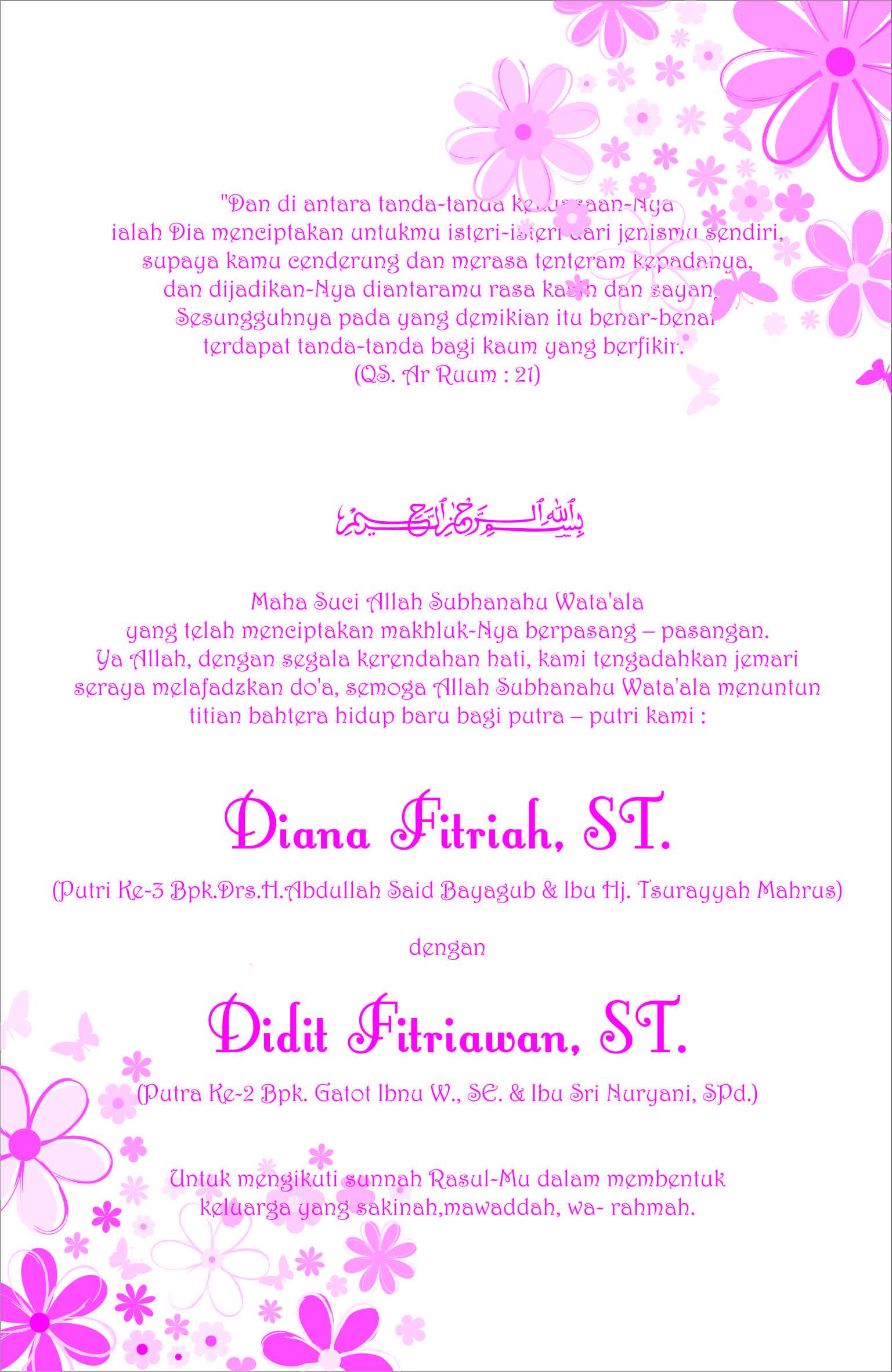 Undangan Pernikahan Kami AL FitraHs WebLog